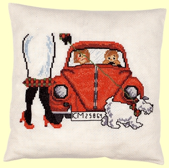 click here to view larger image of Red VW Cushion (counted cross stitch kit)