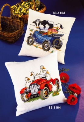 click here to view larger image of Blue Car With Cow (Upper) (counted cross stitch kit)