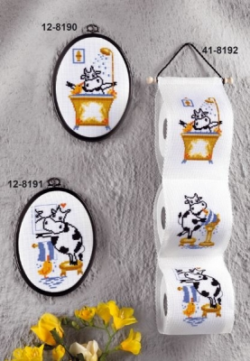 click here to view larger image of Cow Toilet Paper Holder (counted cross stitch kit)