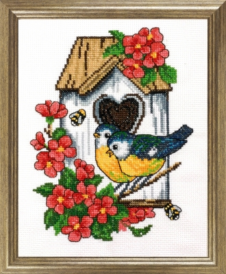 click here to view larger image of Tits At Birdhouse (counted cross stitch kit)