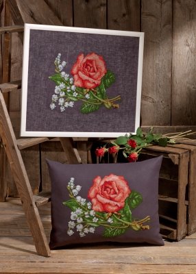 click here to view larger image of Roses and Lilies (Linen) (None Selected)
