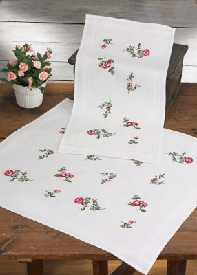 click here to view larger image of Roses Table Runner (top) (stamped cross stitch kit)
