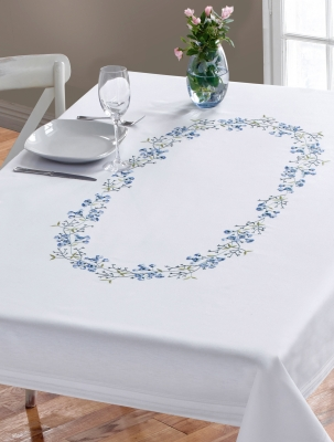 click here to view larger image of Blue Flowers Table Cloth (stamped cross stitch kit)