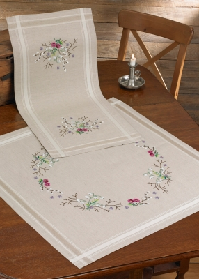 click here to view larger image of Snowdrop Table Runner (stamped cross stitch kit)