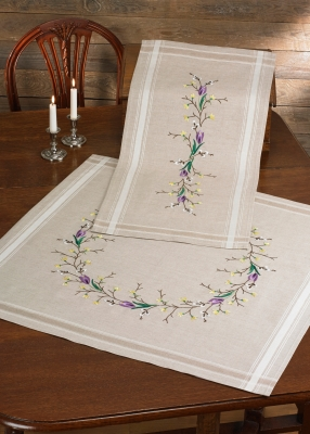 click here to view larger image of Crocus Table Topper (stamped cross stitch kit)