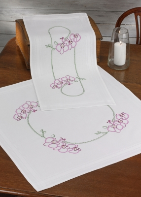 click here to view larger image of Orchids Table Topper (stamped cross stitch kit)