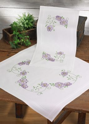 click here to view larger image of Clematis Table Topper (lower) (stamped cross stitch kit)