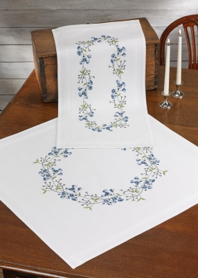 click here to view larger image of Harebell Table Topper (Lower) (stamped cross stitch kit)