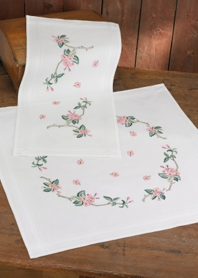 click here to view larger image of Cherry Twigs Table Topper (lower) (stamped cross stitch kit)