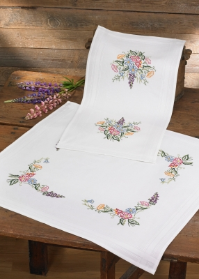 click here to view larger image of Flowers Table Topper (lower) (stamped cross stitch kit)