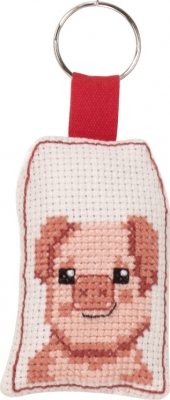 click here to view larger image of Smiling Pig Keyring (counted cross stitch kit)