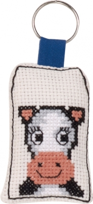 click here to view larger image of Smiling Cow Keyring (counted cross stitch kit)