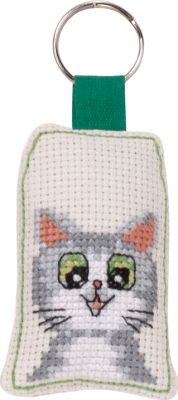click here to view larger image of Smiling Cat Keyring (counted cross stitch kit)