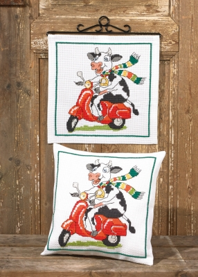 click here to view larger image of Cow And Vespa Pillow (bottom) (counted cross stitch kit)