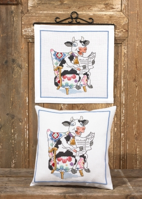 click here to view larger image of Cow Reading Pillow (bottom) (counted cross stitch kit)