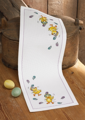 click here to view larger image of Dancing Chicks Table Runner (counted cross stitch kit)