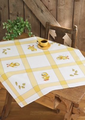 click here to view larger image of Chickens Table Cloth (stamped cross stitch kit)