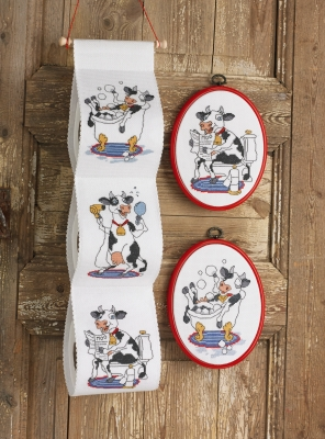 click here to view larger image of Cow Bathroom With Newspaper (counted cross stitch kit)