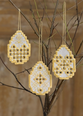 click here to view larger image of Easter Hardanger Eggs (3 Designs) (Hardanger and Cut Work)