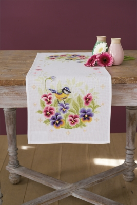 click here to view larger image of Birds and  Violets Table Runner (counted cross stitch kit)