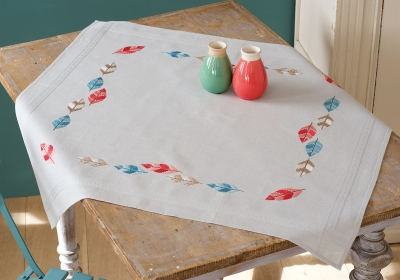 click here to view larger image of Feathers Tablecloth (stamped cross stitch kit)
