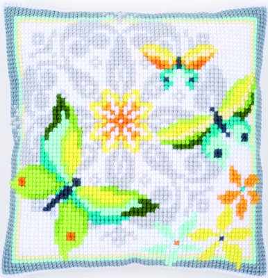 click here to view larger image of Butterflies and Flowers Cushion (needlepoint)