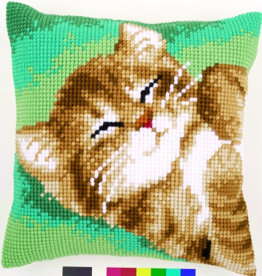 click here to view larger image of Cat Cushion (needlepoint)