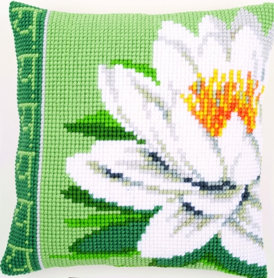 click here to view larger image of White Lotus Flower Cushion (needlepoint)
