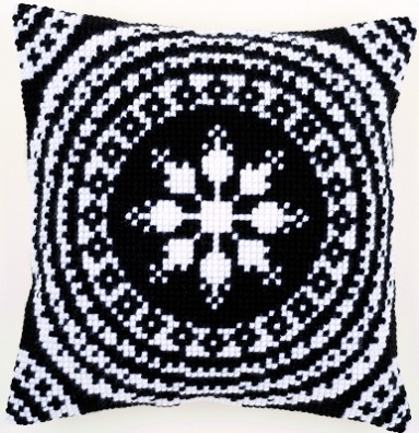 click here to view larger image of Black and White Cushion (needlepoint)