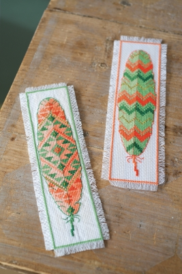 click here to view larger image of Feathers Bookmarks (Set of 2) (counted cross stitch kit)
