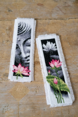 click here to view larger image of Lotus and Buddha Bookmarks (Set of 2) (counted cross stitch kit)