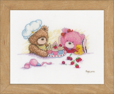 click here to view larger image of Bears And Cupcakes (counted cross stitch kit)