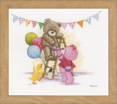 click here to view larger image of Bear Birthday Popcorn (counted cross stitch kit)
