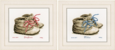 click here to view larger image of Baby Shoes Birth Announcement (counted cross stitch kit)