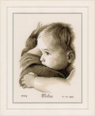 click here to view larger image of Baby Hug Birth Announcement (counted cross stitch kit)