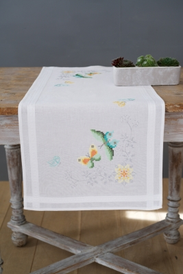 click here to view larger image of Butterflies and Flowers Table Runner (counted cross stitch kit)