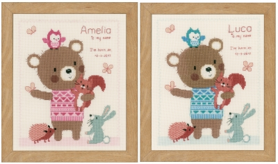 click here to view larger image of Cute Animal Birth Announcement (counted cross stitch kit)