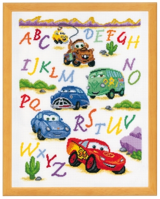 click here to view larger image of Cars Alphabet (counted cross stitch kit)