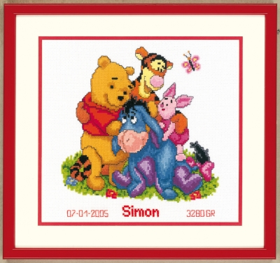click here to view larger image of Winnie The Pooh and Friends Birth Announcement (counted cross stitch kit)