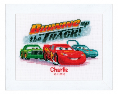 click here to view larger image of Lightning McQueen Birth Announcement (counted cross stitch kit)