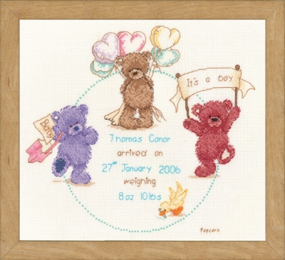 click here to view larger image of Popcorn Birth Announcement (counted cross stitch kit)