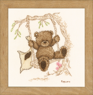 click here to view larger image of Popcorn - Bear Swinging (counted cross stitch kit)