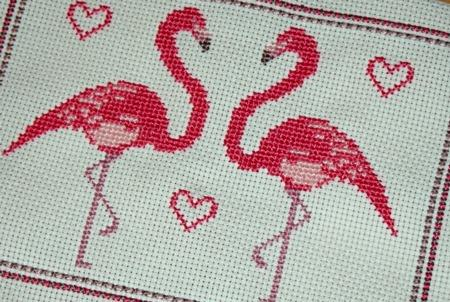 click here to view larger image of Lovebird Flamingos (chart)
