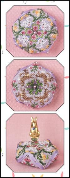 click here to view larger image of Tiny Bunny Biscornu (chart with charms/buttons)