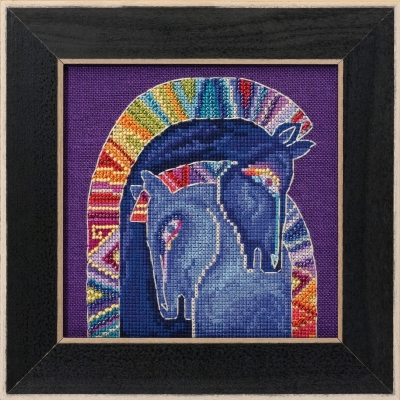 click here to view larger image of Embracing Horses - Horses Collection (Linen) (counted cross stitch kit)