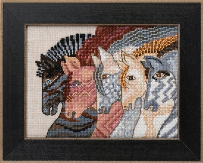 click here to view larger image of Moroccan Mares - Horses Collection (Linen) (counted cross stitch kit)