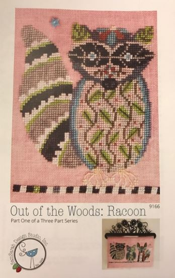 click here to view larger image of Out of the Woods - Racoon (chart with charms/buttons)