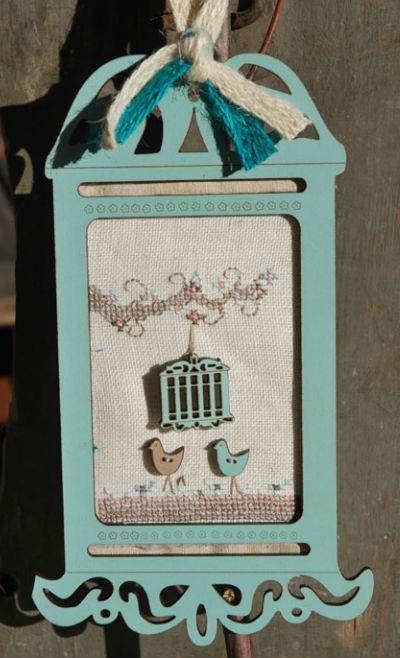 click here to view larger image of Blue Vintage  Birdcage Kit (chart with charms/buttons)