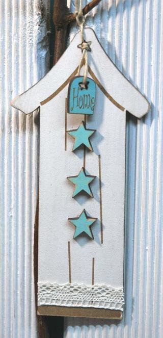 click here to view larger image of Cream and Vintage Blue Primitive House Ornament (accessory)