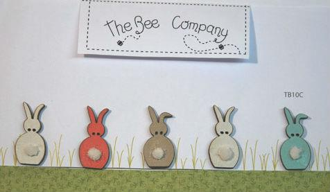 click here to view larger image of 5 Spring Rabbits With Cottontails Buttons (buttons)